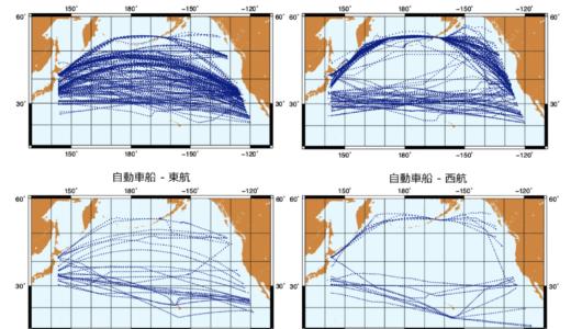 冬季北太平洋航路:教科書に載っているルートと実際のルート